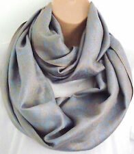 Silk (50%) & Viscose Lrg Pale Blue & Gold Paisley Floral Infinity Scarf Snood