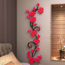 1X Red 3D Rose Flower Wall Sticker Acrylic Decal Home Art Mural Dec Removable