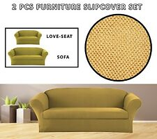 M BEIGE GOLD STRETCH-FIT 2PC SOFA AND LOVESEAT SET FURNITURE COUCH SLIPCOVER SET