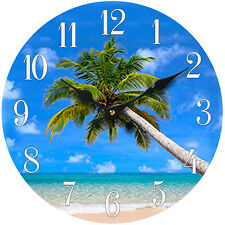 "Glass Wall Clock Palm Tree 13""X 13"" Home Wall Decor Coastal Nautical Beach New"