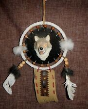 """5"""" dia POLY RESIN WOLF Head DREAM CATCHER feathers, wolf, leather, EUC"""