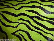 """Hair On Leather 8""""x10"""" Mini Lime Green ZEBRA / Tiger and BLACK H0H Cow hide"""