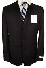#T927 NEW CALVIN KLEIN Black Solid 100% Wool 3 Button Tuxedo Suit 40 Long/36W