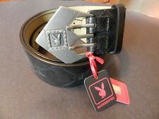 Playboy web design crystal bronze tone buckle black strap belt small NEW
