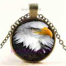 Vintage Eagle Photo Cabochon Glass Bronze Chain Pendant Necklace#AH57