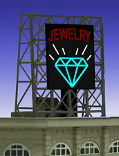 "JEWELRY STORE ANIMATED ROOFTOP SIGN by MILLER ENGR-N & Z SCALE-1"" W X 1.35""T"