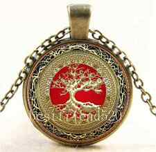 Vintage Celtic Gold/Red Tree Of Life  Glass Cabochon Bronze Chain Necklace#94F
