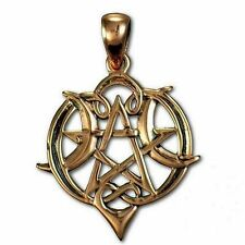Heart Moon Pentacle Copper Pendant Wicca Pagan|Paul Borda Dryad Design #CPD540