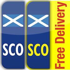 2 SCO Scotish Flag badge Car Number Plate Vinyl Stickers Scotland Decal not EU