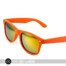 Retro Neon Orange Frame Party Sunglasses Fire Mirror Lens Glasses Free Case S005
