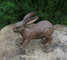 BUNNY Rabbit PULL TOY Statue*Primitive/French Country Farmhouse Barn Shelf Decor