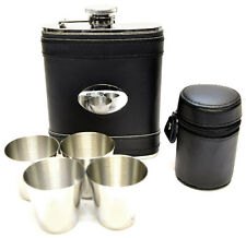 6oz Black Leather Hip Flask & Four Cup Set Free Engraving (flc9-B)