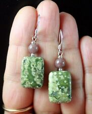 EARTHY OLIVE GREEN MUSHROOM JASPER & BROWN MUSCOVITE STERLING SILVER EARRINGS