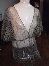 Wet Seal SHEER Leopard Print  Blouse Top Shirt SIZE JUNIORS XL
