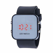LED Mirror Digital Luxury Sports Watch for Men Women Silicone Jelly Band ZH