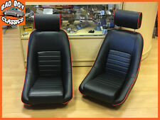 Paire BB1 rs classic noir/rouge piping sports racing bucket seats universal