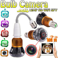 12MP HD WIFI Spy Hidden Wireless IP P2P Camera Lamp Bulb Cam DVR w/36 LED Light