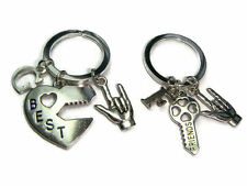 2 Best Friends Keychains Key To My Heart Keyrings Sign Language I Love You Hand