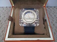 NWT Auth Tory Burch Izzie Navy Blue Patent Square Logo Face Watch w/ Box $495