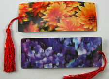 2 Bookmarks - 3D Lenticular - Beautiful Flowers with red tassle