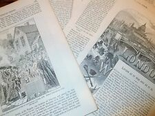Decoupage Antiguo Libro páginas C1875 London grabados para Craft Arte Scrapbooking