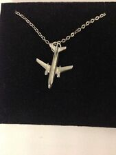 Boeing 737-400 C11 Aircraft Jet Emblem Silver Platinum Plated Necklace 18""