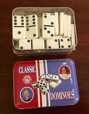 NIB UNUSED DOMINOES CLASSIC GAME, TIN BOX,CHANNEL CRAFT USA, SCUFF MARKS ON LID