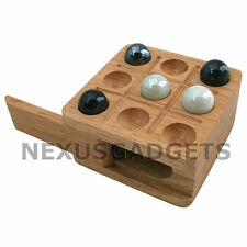 Tic Tac Toe Wood Wooden Board Game Box Set Marbles Travel Mini TicTacToe NATURAL