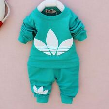 Baby Girl Boy 2 pc Set Tracksuit Outfit long sleeve Top Trousers 6 9 12 18 Mnth