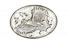 Nocona Western Mens Belt Buckle Oval Flying Wings Eagle Silver 37044