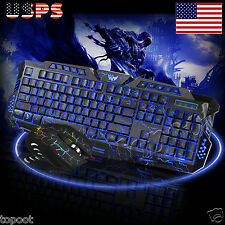 2.4G Wireless Gaming Keyboard and Mouse Set For Computer PC Multimedia Gamer US