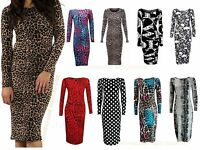 Womens Ladies Long Sleeve Animal PRINTED Bodycon MIDI DRESS Plus Size 8-22 lot 5
