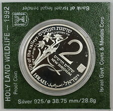 1992 Israel 2 New Sheqalim Silver Proof Holy Land Wild Life Coin as Issued Green
