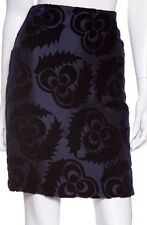 NWT! Prada NAVY BLUE VELVET BROCADE Floral Skirt Sz IT 38 U.S 4