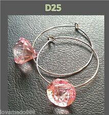 New ladies fashion trend 2.5 CM RING 1 CM PINK CLEAR BEAD hook earrings #D25
