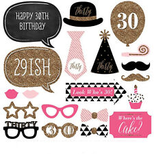 Women 20pcs 30th Birthday Party Photo Booth Props Moustache Photography Kit DIY