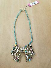 BETSEY JOHNSON NWT Fairy Land Large Rhinestone Metal Bow Pendant Necklace