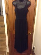Gorgeous Long Black See Through Sheer Waist Dress Uk 10