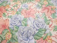 4 Metres Pink & Blue Roses  Floral Printed 100% Cotton Curtain Fabric