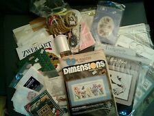 Lot of Cross Stitch Craft Items Patterns Kits Hoops Cards Belt SwitchPlate Gator