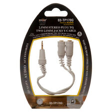 """4"""" 2.5mm Stereo Male Plug to two 2.5mm mini Jack Audio Y-Cable Adapter splitter"""
