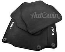 Black Floor Mats for Volkswagen Golf IV with GOLF Emblem and Clips LHD Side Euro
