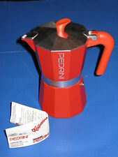 Pedrini Italy Colours Collection Red Stovetop Moka Espresso Coffee Maker 2 Cups