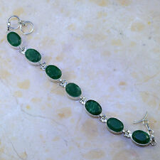 BEAUTIFUL GENUINE EARTH MINED FACETED EMERALD 925 SILVER TENNIS BRACELET 71/4-8""