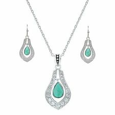 Montana Silversmiths School of Nature Turquoise Tear Drop Necklace Earrings Set