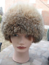 """#1A Montana lynx fur hat beige brown gray fit 22"""" inches"""