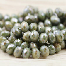25pcs 6x9mm Opaque Green Picasso Luster Gemstone Cut Rondelle Czech glass beads