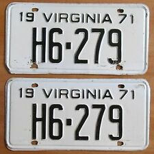 Virginia 1971 TAXI FOR HIRE License Plate PAIR # H6-279