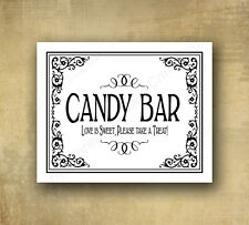 Printed Black and White Candy Bar Wedding Sign 5x7 Black tie design