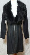 Bisou Bisou Womens Dark Denim Long Jacket Coat Removable Faux Fur Collar Medium